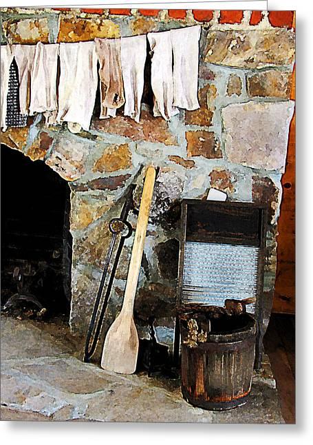 Laundry Greeting Cards - Washday Greeting Card by Susan Savad