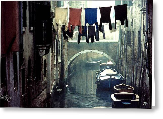 Washlines Greeting Cards - Washday Venice Italy Greeting Card by Wayne King