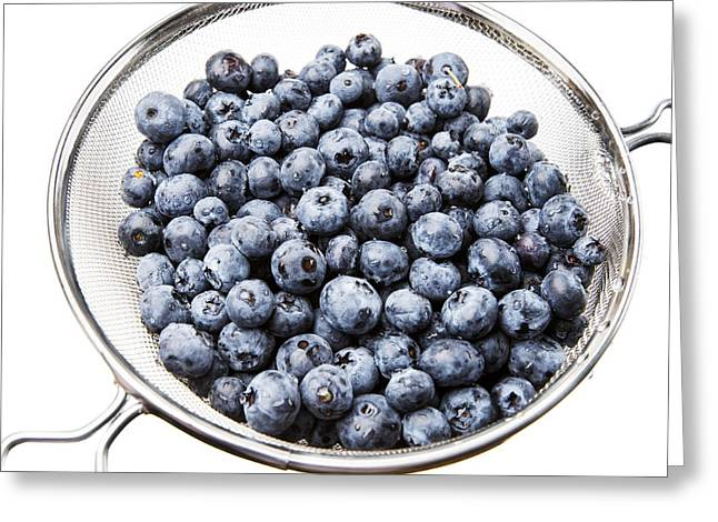 Strainer Greeting Cards - Washed Fresh Blueberries in Strainer Greeting Card by Donald  Erickson
