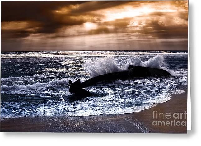 Storm Prints Digital Art Greeting Cards - Washed Out to Sea - Outer Banks Greeting Card by Dan Carmichael