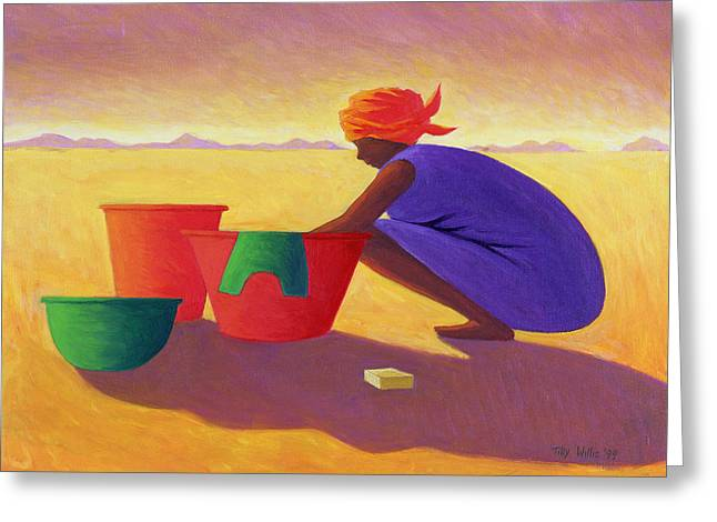 Washing Greeting Cards - Washer Woman, 1999 Oil On Canvas Greeting Card by Tilly Willis