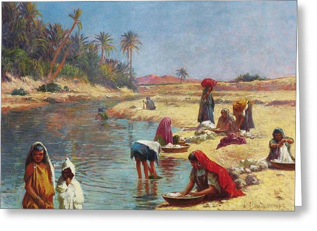 Jihad Greeting Cards - Washerwomen Greeting Card by Alexis Auguste Delahogue