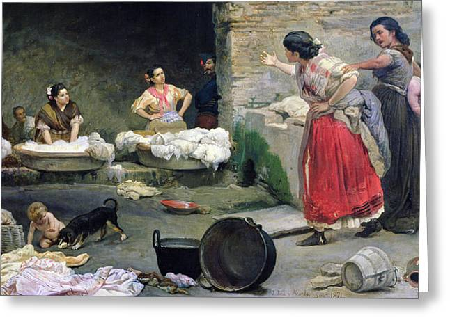 Doing Laundry Greeting Cards - Washerwomen Disputing Greeting Card by Jose-Jimenes Aranda