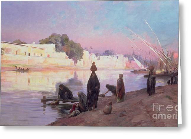 Pot Boat Greeting Cards - Washerwomen on the banks of the Nile Greeting Card by Eugene Alexis Girardet