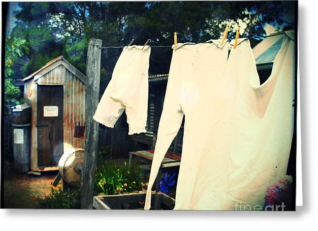 Britches Greeting Cards - Washing Day 1900 Greeting Card by Therese Alcorn