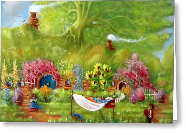Lord Of The Rings Greeting Cards - Washing Day Hobbiton/Rosies Roses Greeting Card by Joe  Gilronan