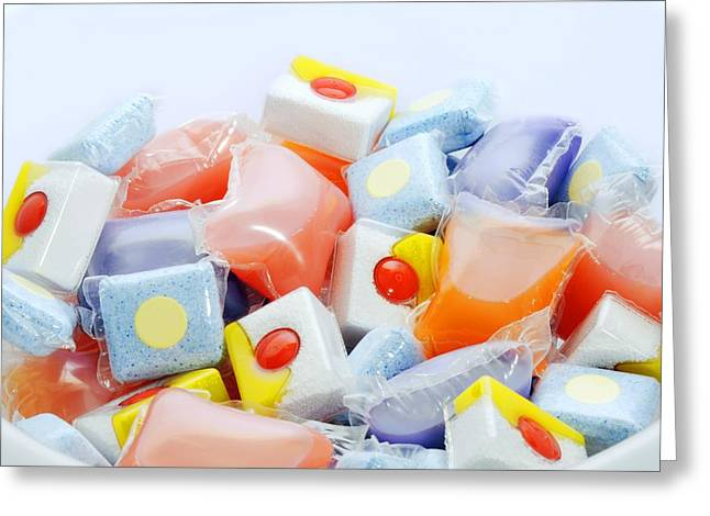 Tablets Greeting Cards - Washing deterrgent tablets Greeting Card by Science Photo Library