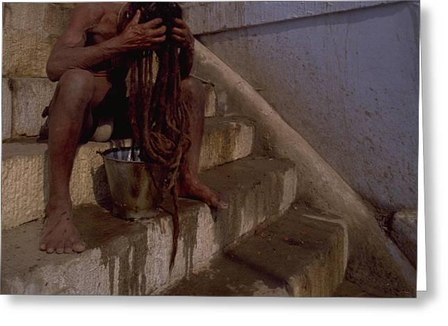 Greeting Card featuring the photograph Varanasi Hair Wash by Travel Pics