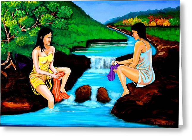 Maza Greeting Cards - Washing in the River Greeting Card by Cyril Maza
