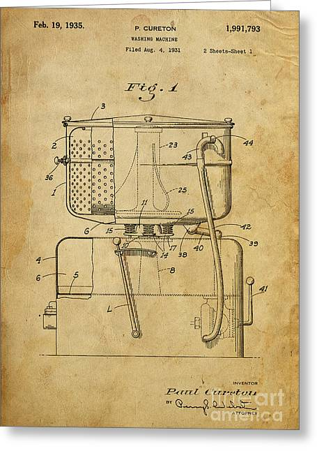 Washing Machine Greeting Cards - Washing Machine - Patented on 1931 Greeting Card by Pablo Franchi