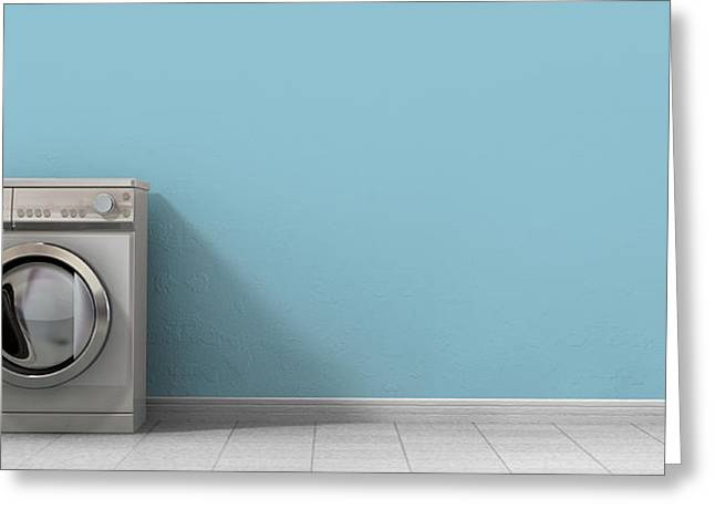 Vacant Greeting Cards - Washing Machine Empty Single Greeting Card by Allan Swart