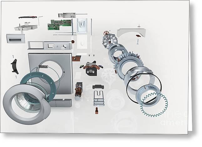 Disassembled Greeting Cards - Washing Machine, Exploded View Greeting Card by Nikid Design Ltd / Dorling Kindersley