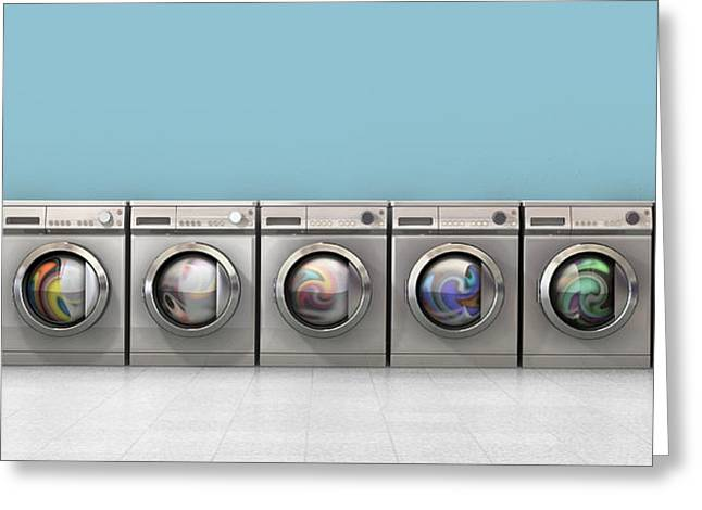 Copy Machine Greeting Cards - Washing Machine Full Single Greeting Card by Allan Swart