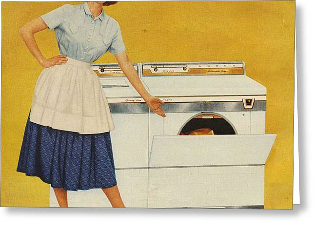 Twentieth Century Greeting Cards - Washing Machines 1950s Usa Housewives Greeting Card by The Advertising Archives