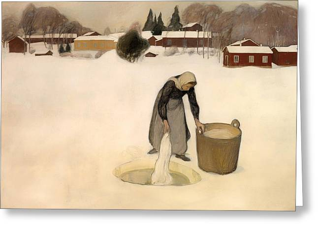 Lady In Lake Greeting Cards - Washing on the Ice Greeting Card by Pekka Halonen