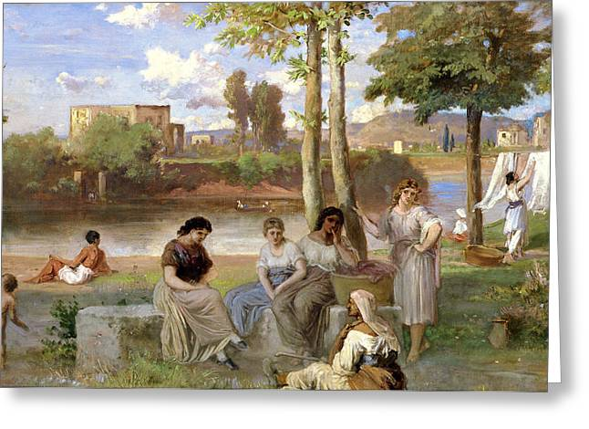 Besides Greeting Cards - Washing on the Tiber Greeting Card by Heinrich Dreber
