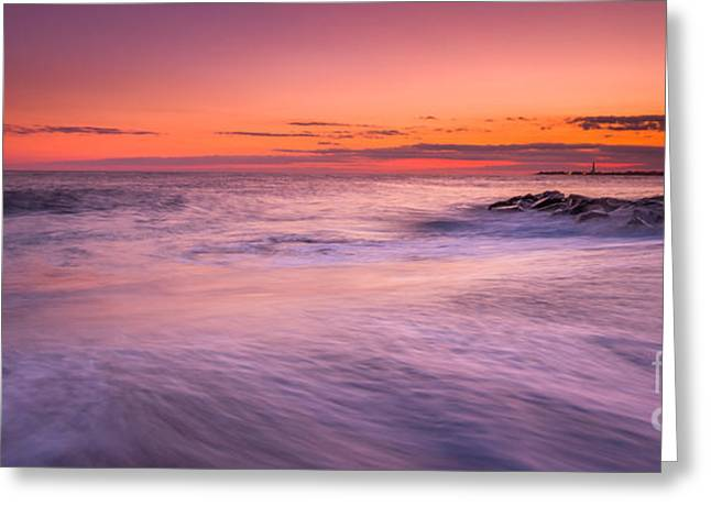 Jerseyshore Greeting Cards - Washing Over The Rocks Greeting Card by Michael Ver Sprill