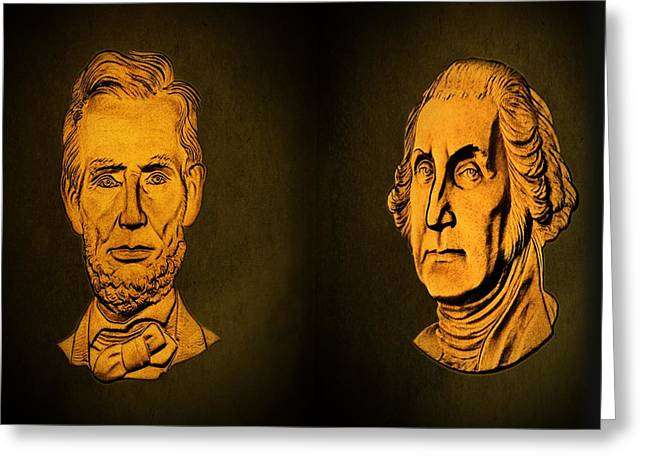Abraham Lincoln Drawings Greeting Cards - Washington and Lincoln Greeting Card by David Dehner