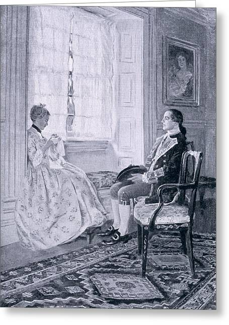 First Love Greeting Cards - Washington And Mary Philipse, Illustration From Colonel Washington By Woodrow Wilson, Pub Greeting Card by Howard Pyle