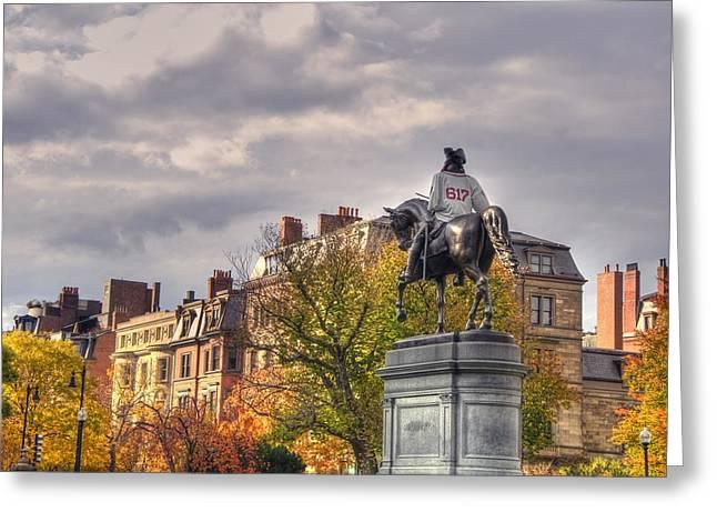 Fall Scenes Greeting Cards - Washington and the 617 - Boston Greeting Card by Joann Vitali