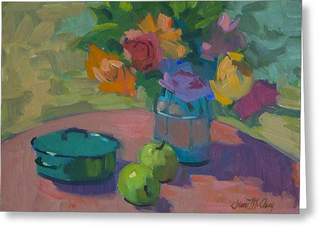 Glass Vase Paintings Greeting Cards - Washington Apples Greeting Card by Diane McClary