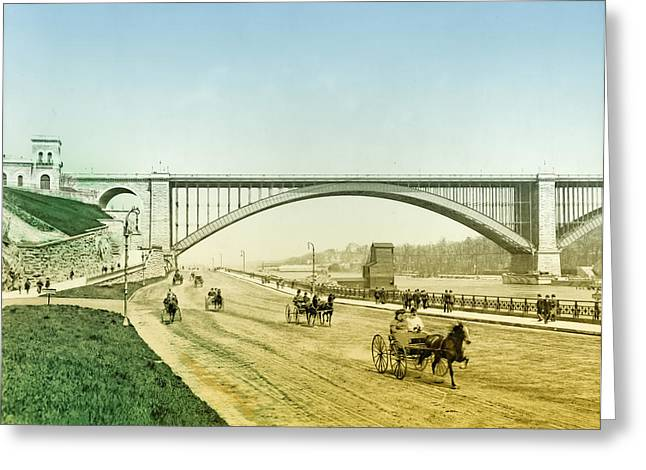Harlem River Greeting Cards - Washington Bridge and the Harlem River Speedway New York Greeting Card by Digital Reproductions