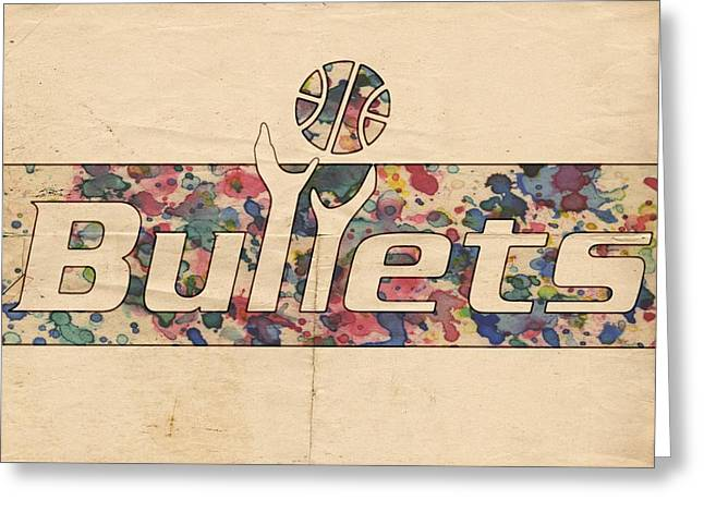Slamdunk Greeting Cards - Washington Bullets Retro Poster Greeting Card by Florian Rodarte