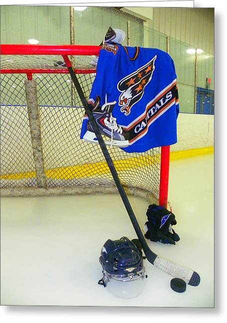 Skates Greeting Cards - Washington Capitals Blue Away Hockey Jersey Greeting Card by Lisa Wooten
