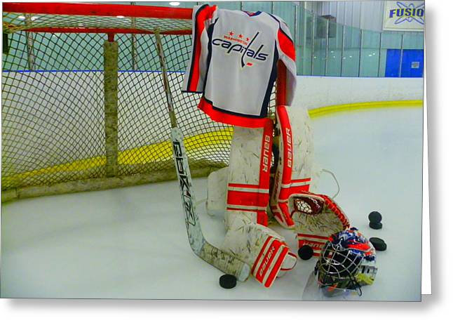 Skate Greeting Cards - Washington Capitals Hockey Away Goalie Jersey Greeting Card by Lisa Wooten