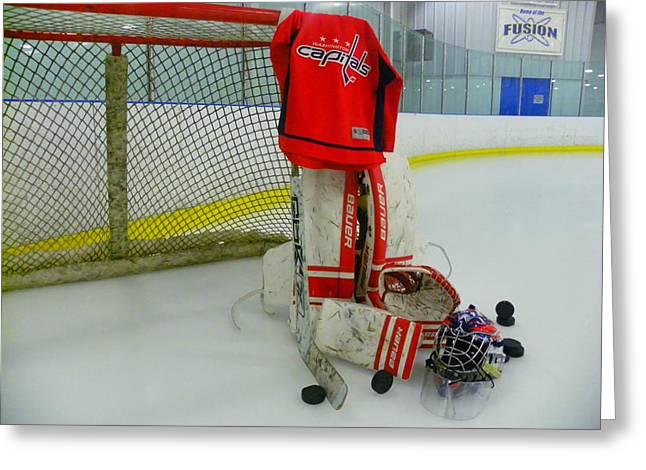 Skate Greeting Cards - Washington Capitals Hockey Home Jersey  Greeting Card by Lisa Wooten