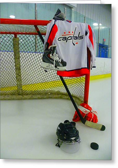 Net Greeting Cards - Washington Capitals Home Hockey Jersey Greeting Card by Lisa Wooten