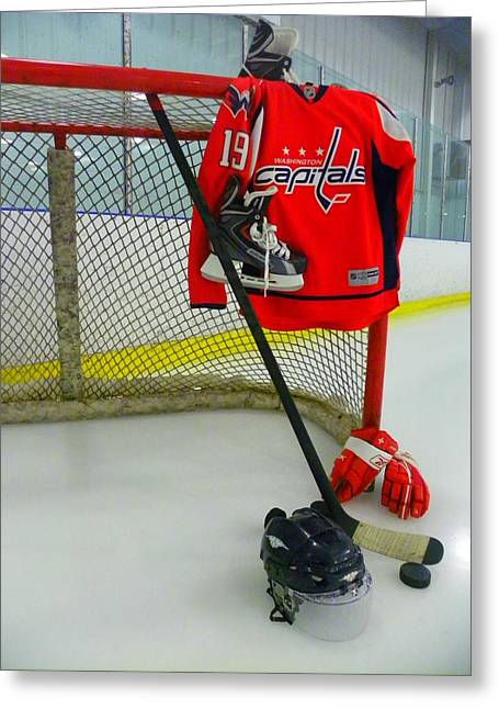 Ice Greeting Cards - Washington Capitals Nicklas Backstrom Home Hockey Jersey Greeting Card by Lisa Wooten