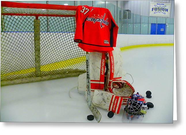 Sticks Greeting Cards - Washington Capitals Olie Kolzig Hockey Greeting Card by Lisa Wooten
