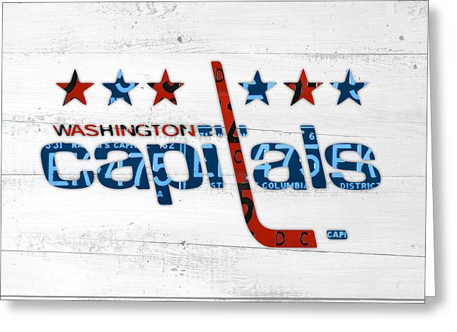 Art Of Hockey Greeting Cards - Washington Capitals Retro Hockey Team Logo Recycled District of Columbia License Plate Art Greeting Card by Design Turnpike
