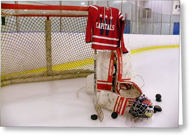 Skate Greeting Cards - Washington Capitals Winter Classic 2015 Goalie Jersey Greeting Card by Lisa Wooten