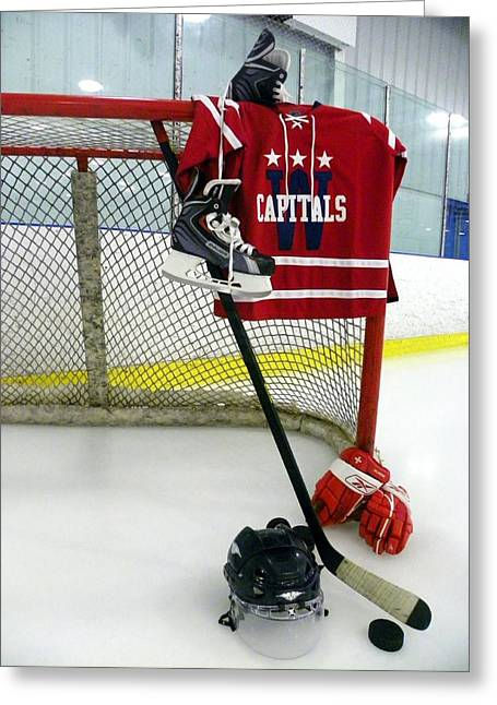 Glove Greeting Cards - Washington Capitals Winter Classic 2015 Jersey Greeting Card by Lisa Wooten