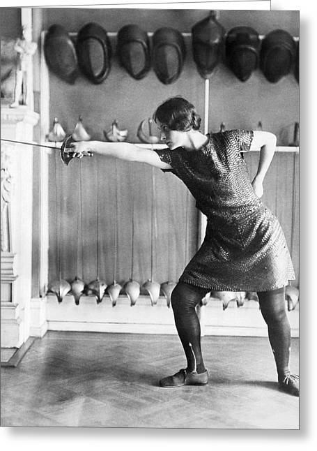 Women Only Greeting Cards - Washington Champion Fencer Greeting Card by Underwood Archives