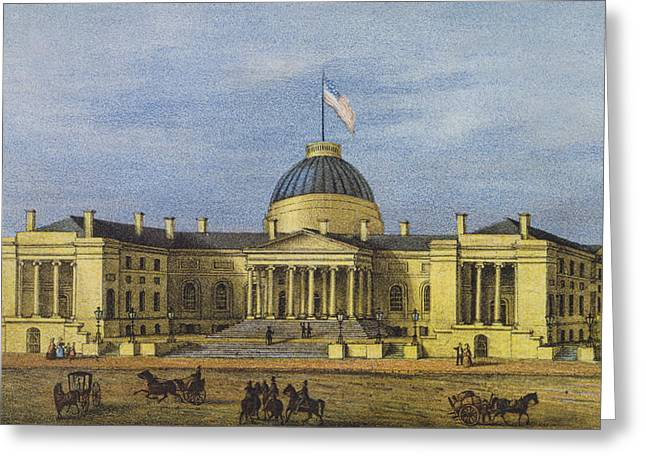 American Civil War Drawings Greeting Cards - Washington City Hall Circa 1866 Greeting Card by Aged Pixel