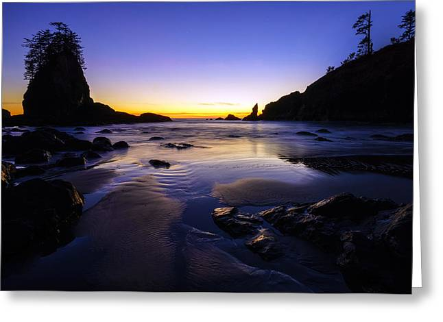 Shi Greeting Cards - Washington Coast Warm Dusk Reflections Greeting Card by Mike Reid