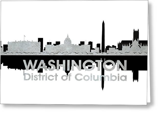 Concrete Jungle Mixed Media Greeting Cards - Washington DC 4 Greeting Card by Angelina Vick