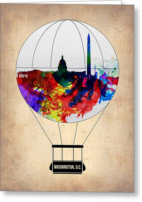 Washington D.c. Digital Art Greeting Cards - Washington D.C. Air Balloon Greeting Card by Naxart Studio
