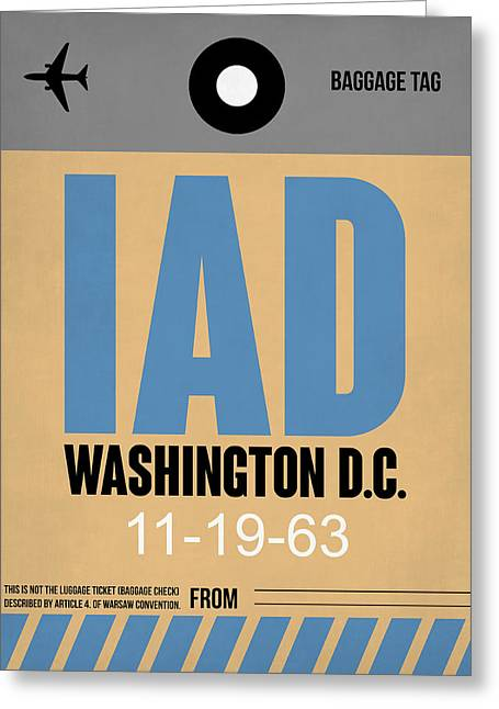 D Greeting Cards - Washington D.C. Airport Poster 3 Greeting Card by Naxart Studio