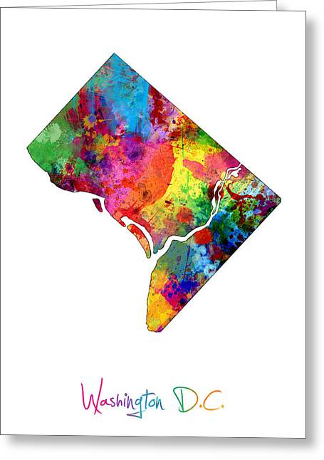 District Of Columbia Greeting Cards - Washington DC District of Columbia Map Greeting Card by Michael Tompsett