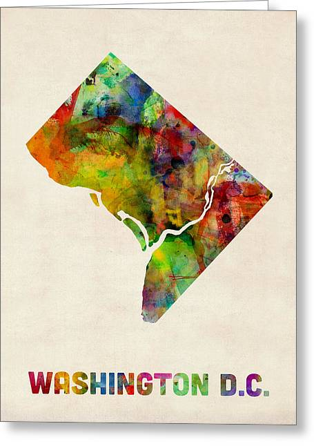 District Columbia Greeting Cards - Washington DC District of Columbia Watercolor Map Greeting Card by Michael Tompsett
