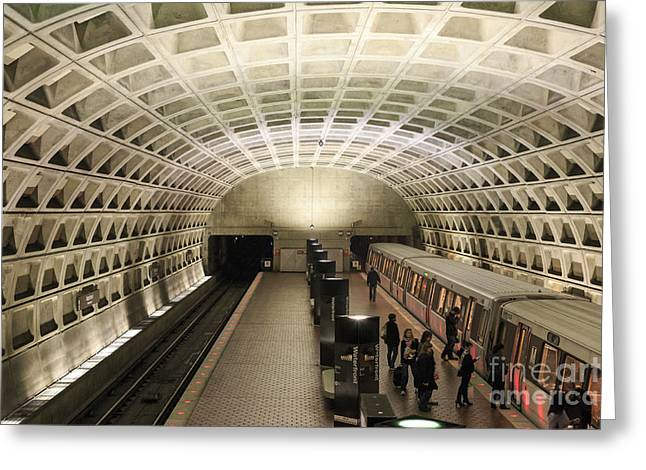 Straphangers Greeting Cards - Washington DC Metro Interior Greeting Card by Jannis Werner