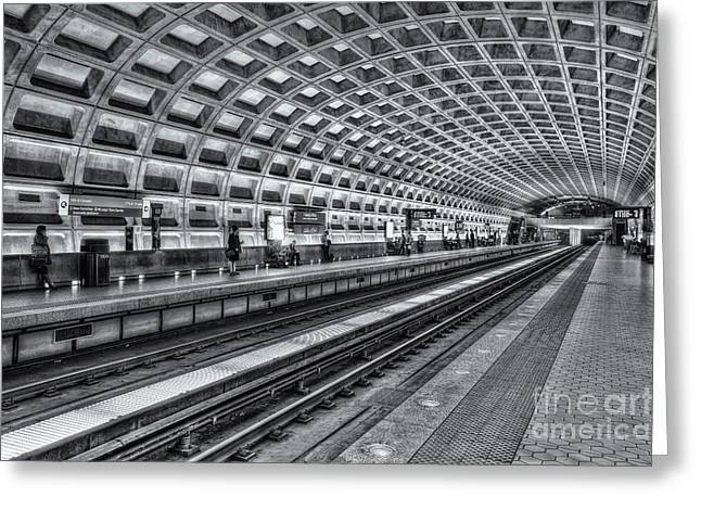 Brutalism Greeting Cards - Washington DC Metro Station X Greeting Card by Clarence Holmes