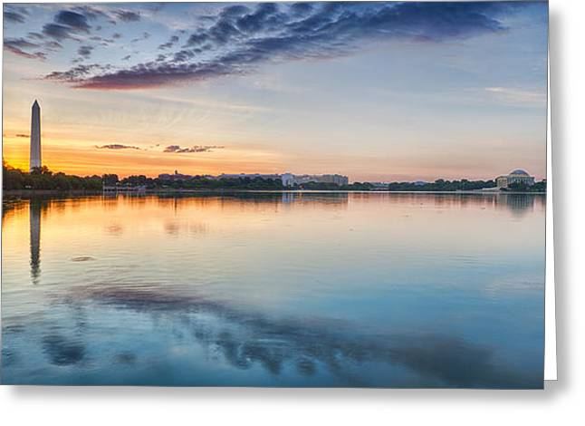 Recently Sold -  - Reflection In Water Greeting Cards - Washington DC Panorama Greeting Card by Sebastian Musial