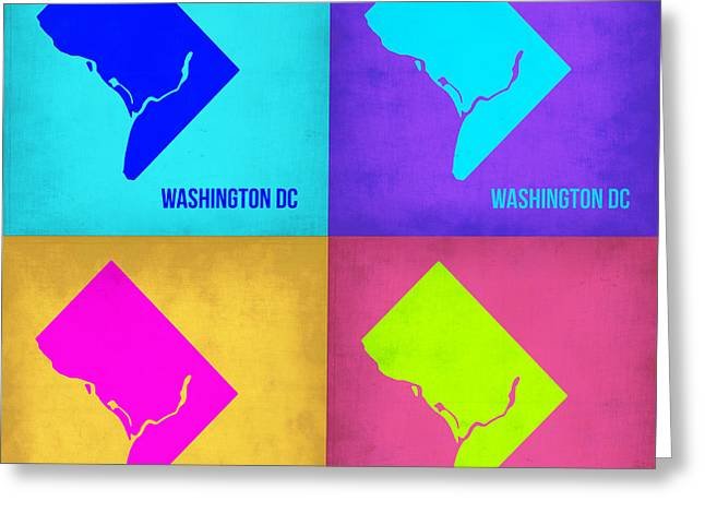 Washington Greeting Cards - Washington DC Pop Art Map 1 Greeting Card by Naxart Studio