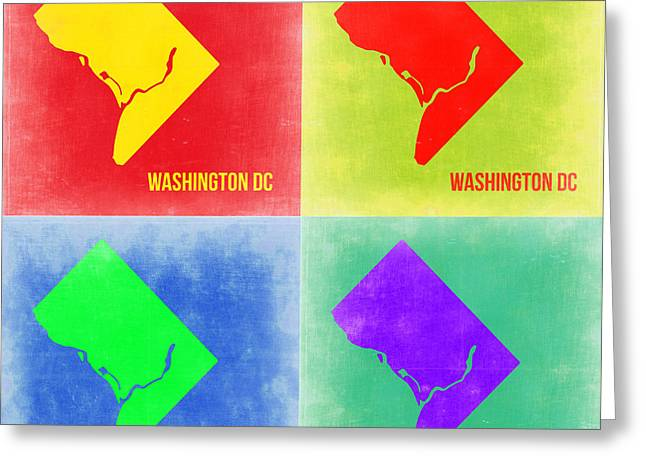 Washington Dc Greeting Cards - Washington DC Pop Art Map 2 Greeting Card by Naxart Studio