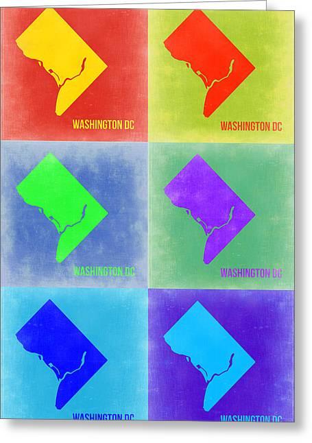 Washington Dc Greeting Cards - Washington DC Pop Art Map 3 Greeting Card by Naxart Studio